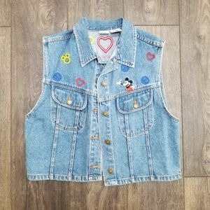 Disney Jean Vest Peace Love Mickey - xl